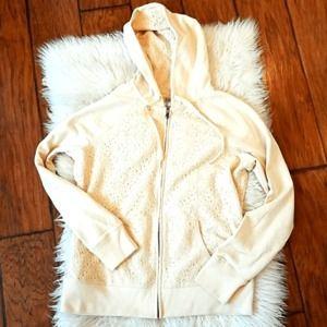 Lucky Brand cream lace zip up hoodie sweatshirt